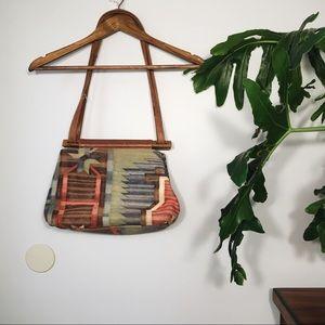 Vintage Handmade Leather Embroidered Purse